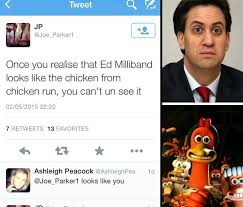 Chicken Running Meme - ed milliband looks like the chicken from chicken run tweet