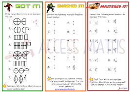 improper fractions to mixed numbers worksheet worksheets