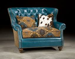 Leather Upholstery Chair Tufted Turquoise Leather Chair And A Half