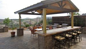 outdoor kitchen roof ideas pavers bar stools pergola roof outdoor kitchen bar patio