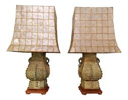 Capiz Shell Sconce James Mont Style Capiz Shell Shade Lamps A Pair Chairish