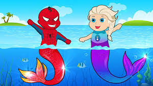 frozen elsa u0026 spiderman become a mermaid at swimming pool finger