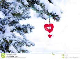 snowy christmas tree red heart ornament stock photo image 40066213