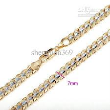 gold filled necklace chains images Wholesale cool men 39 s 18k yellow white gold filled necklace chain jpg