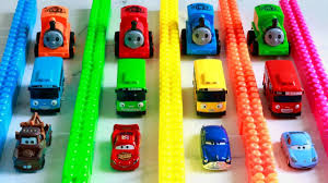 tayo cizgi film video learn colors thomas friends lightning mcqueen with tayo bus toys