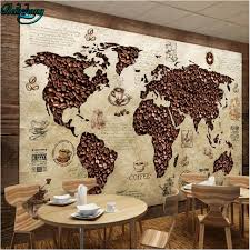 Decorative World Map Beibehang Customized Wallpapers Frescoes Cafes World Map Retro