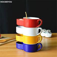 vaisselle petit dejeuner aliexpress com acheter moderne coloré en céramique double bols