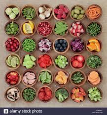 super food sampler for paleolithic diet with fresh vegetables and