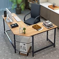 Corner Computer Desk Tribesigns Modern L Shaped Corner Computer Desk Teak Walmart