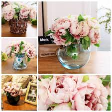Home Decor Craft 5 Heads Silk Fake Artificial Peony Flower Bouquet Wedding Party