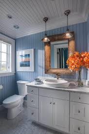 best small bathroom design ideas and decorations for beachy blue wainscoting with copper accents