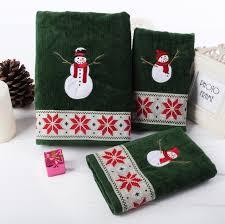 christmas towels 3 pcs set 100 cotton velvet christmas towel snowman