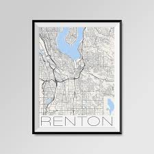 Renton Washington Map by Renton Washington Map Renton City Map Print Renton Map