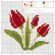 small and simple cross stitch pattern of three tulips free