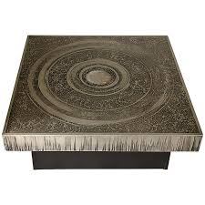 Aluminum Coffee Table with 1970s Belgian Etched And Agate Inset Aluminum Coffee Table By Marc