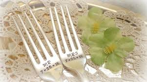 wedding silverware mr mrs forks with wedding date wedding cake fork set custom