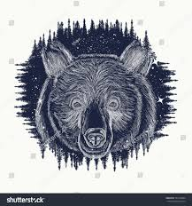 bear tattoo art symbol travel tourism stock vector 523764904