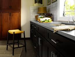 vancouver distressed black kitchen traditional with chandelier