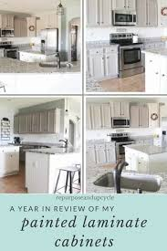 can i use chalk paint on laminate kitchen cabinets a year in review of how i painted my laminate cabinets with