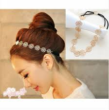 flower hair band vintage lovely metallic hollow flower elastic hair band