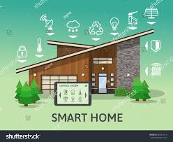 House Technology Modern Smart Home Flat Design Style Stock Vector 485813119