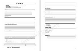 blank resume templates to print printable resume template free