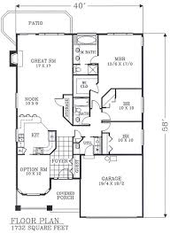narrow lot house plans craftsman 1732 sf no basement stairway access floor plan of bungalow