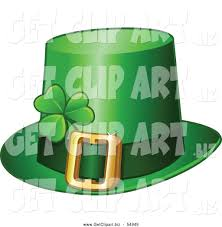 clip art of a green st patricks day leprechaun hat with a shamrock