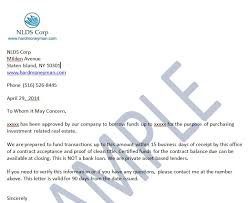 Business Letter Format For Loan Proof Of Funds Letter Nationwide Fix And Flip Rehab Loans And