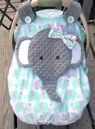 Pink Car Seat Canopy by Made To Order Girls Minky Appliqued Elephant Fitted Car Seat