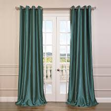 Peacock Curtains Peacock Grommet Blackout Vintage Textured Dupioni Silk Curtains