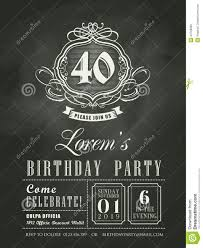 Birthday Invitation Card Download Anniversary Birthday Invitation Card Chalk Board Background Stock