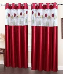 Eyelet Curtains Homefab India Set Of 2 Door Eyelet Curtains Floral Maroon Buy
