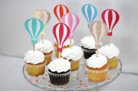 custom cupcake toppers custom colorful hot air balloon cupcake toppers birthday wedding