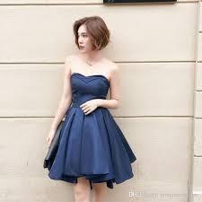 high quality navy blue bridesmaid dresses satin ball gown short