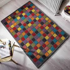 Handmade Wool Rug Modern Blocket Handmade Wool Rug In Grey And Multi Colors