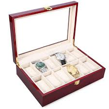 luxury bracelet box images New luxury 12 slots wood watch box display case glass top bracelet jpg