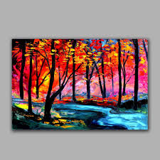 bright color forest landscape oil painting handmade wish popular