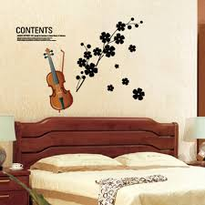 Eiffel Tower Wall Decals Beautiful Violin Flowers Removable Wall Stickers Art Decals Sales