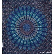 Cute Wall Tapestry Blue Floral Psychedelic Mandala Medallion Hippie Indian Tapestry