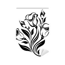 black silhouette of flowers ornament vector illustration wall