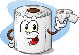 happy toilet paper cartoon character holding a roll of bathroom