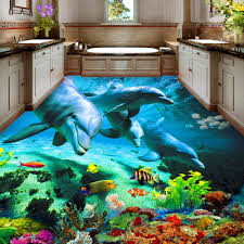 aliexpress com buy custom 3d floor sticker ocean world dolphin