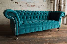 modern handmade 3 seater plush blue teal velvet chesterfield sofa