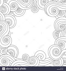 abstract hand drawn frame border with outline sea wave background