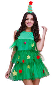 christmas tree costume green womens christmas tree pleated santa helper costume