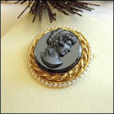 black glass necklace images Cameo pin 12kt gf black glass pearl brooch vintage 1950s jewelry jpg