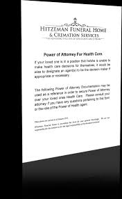 Power Of Attorney For Healthcare by Power Of Attorney Forms Hitzeman Funeral Home U0026 Cremation