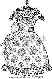 vector coloring book vintage dress stock vector 397234624