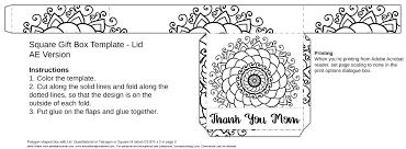 free mother u0027s day coloring gift box template educational printables